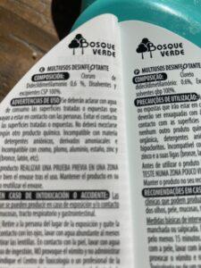 Ingredientes desinfectante sin lejía